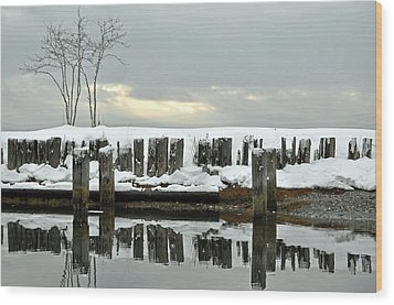 Winter In Birch Bay Wood Print by Matthew Adair