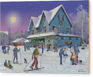 Winter In Campton Village Wood Print by Nancy Griswold
