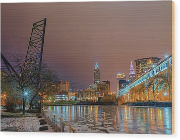 Winter In Cleveland, Ohio  Wood Print