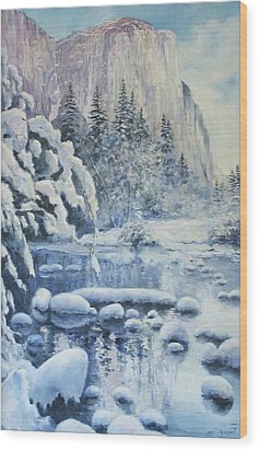 Wood Print featuring the painting Winter In El Capitan by Tigran Ghulyan