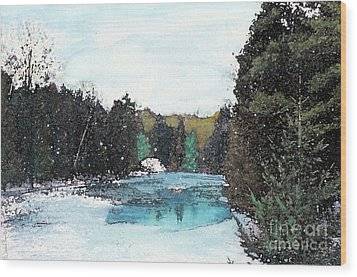 Wood Print featuring the mixed media Winter In Kalkaska by Desiree Paquette