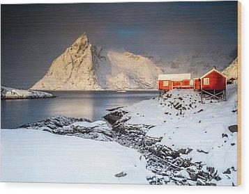 Winter In Lofoten Wood Print by Alex Conu