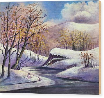 Wood Print featuring the painting Winter In The Garden Of Eden by Randol Burns