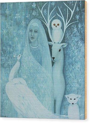 Wood Print featuring the painting Winter Lady by Tone Aanderaa