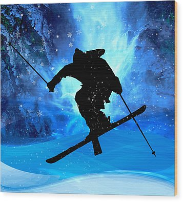 Winter Landscape And Freestyle Skier Wood Print by Elaine Plesser