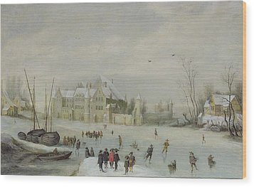 Winter Landscape Wood Print by Barent Avercamp