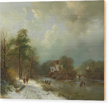 Wood Print featuring the painting Winter Landscape - Holland by Barend Koekkoek