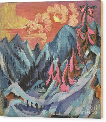 Winter Landscape In Moonlight Wood Print by Ernst Ludwig Kirchner