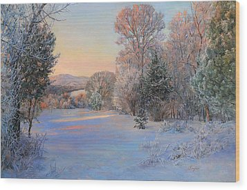 Winter Landscape In The Morning Wood Print