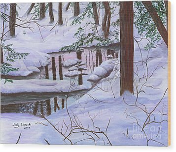 Wood Print featuring the painting Winter Landscape by Judy Filarecki