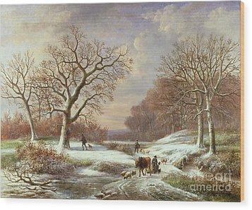 Winter Landscape Wood Print by Louis Verboeckhoven