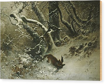 Winter Landscape Wood Print by Ludwig Munthe