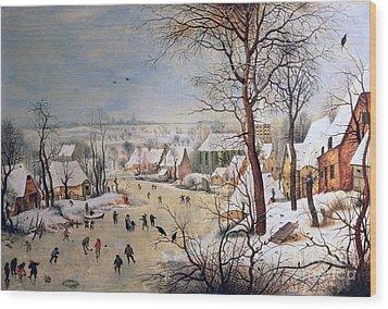 Winter Landscape With Birdtrap Wood Print by Pieter the elder Bruegel