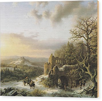 Winter Landscape With Peasants Gathering Wood Wood Print