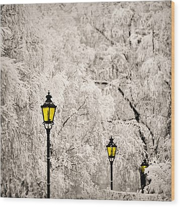 Winter Lanterns Wood Print