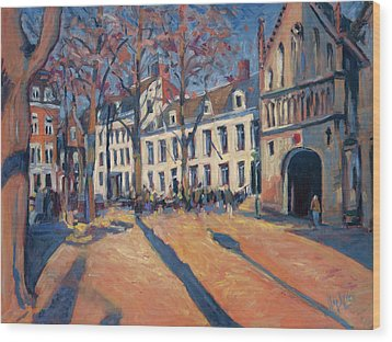 Winter Light At The Our Lady Square In Maastricht Wood Print by Nop Briex