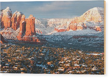 Winter Light In Sedona Wood Print