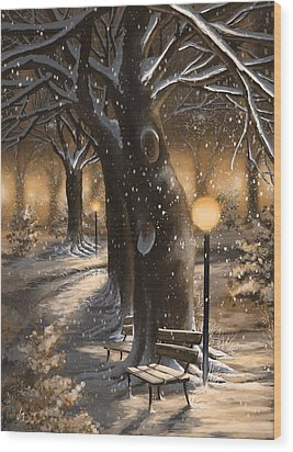 Wood Print featuring the painting Winter Magic by Veronica Minozzi