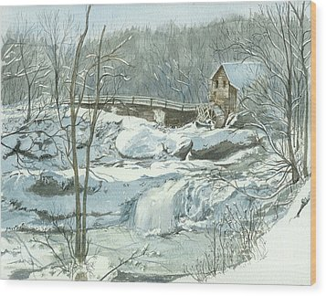 Wood Print featuring the painting Winter Mill by Lynn Babineau