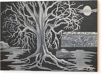 Winter Moon Wood Print by Carolyn Cable