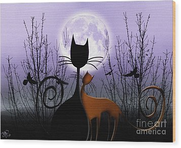 Wood Print featuring the digital art Winter Moon Cats In Love by Rosa Cobos