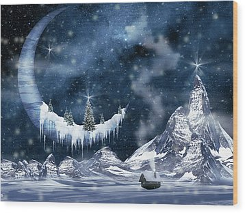 Winter Moon Wood Print by Mihaela Pater
