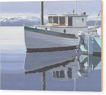 Wood Print featuring the painting Winter Moorage by Gary Giacomelli
