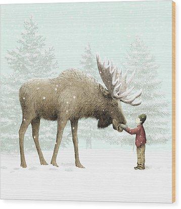 Winter Moose Wood Print by Eric Fan