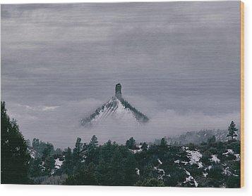 Winter Morning Fog Envelops Chimney Rock Wood Print