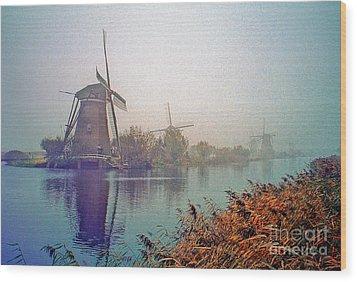 Wood Print featuring the photograph Winter Morning Kinderdijk by Nigel Fletcher-Jones