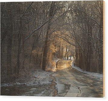 Winter Morning Road Wood Print