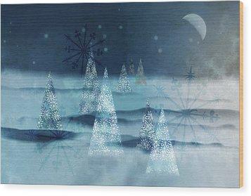 Winter Night Wood Print by AugenWerk Susann Serfezi