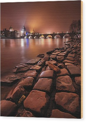 Winter Night Near Charles Bridge In Prague, Czech Republic Wood Print