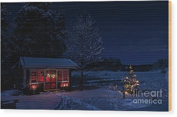 Wood Print featuring the photograph Winter Night by Torbjorn Swenelius