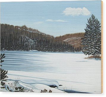 Winter On An Ontario Lake  Wood Print by Kenneth M  Kirsch