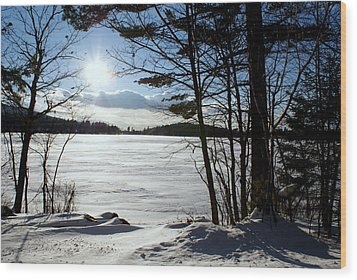 Winter On Dublin Lake Wood Print by Lois Lepisto