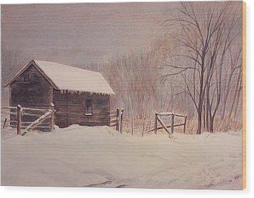 Winter On The Farm  Wood Print by Debbie Homewood