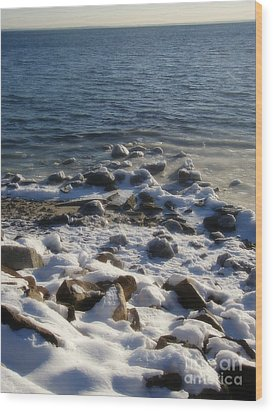 Wood Print featuring the photograph Winter On The Long Island Sound by Kristine Nora