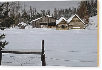 Winter On The Ranch Wood Print