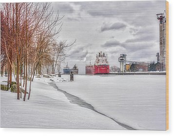 Winter Owen Sound Harbour Wood Print by Irwin Seidman