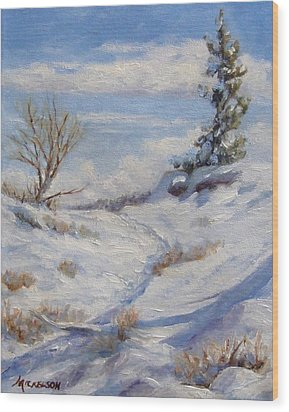 Winter Path Wood Print by Debra Mickelson