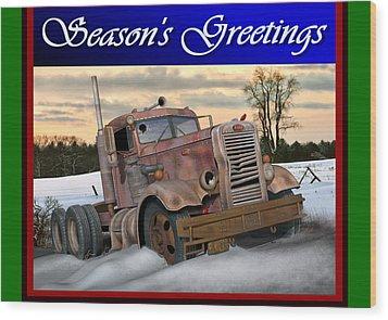 Wood Print featuring the digital art Winter Pete Season's Greetings by Stuart Swartz