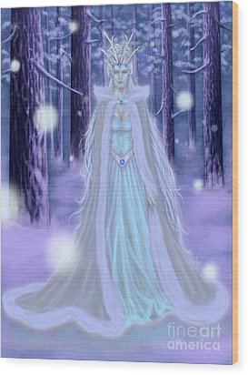 Wood Print featuring the painting Winter Queen by Amyla Silverflame