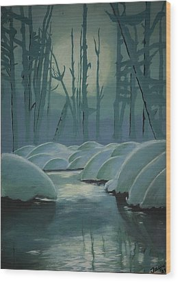 Wood Print featuring the painting Winter Quiet by Jacqueline Athmann