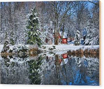 Winter Reflection Wood Print by Kristin Elmquist
