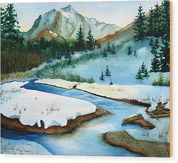 Winter Retreating Wood Print by Karen Stark