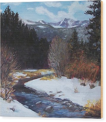 Winter River Bend Wood Print by Donna Munsch