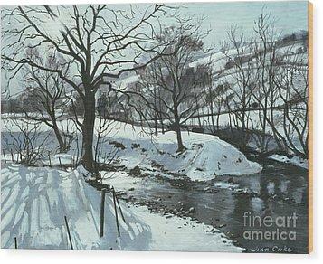 Winter River Wood Print by John Cooke