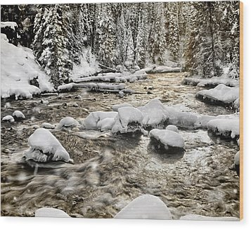 Winter River Wood Print by Leland D Howard
