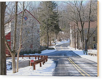 Winter Roads Wood Print by Kathy Gibbons